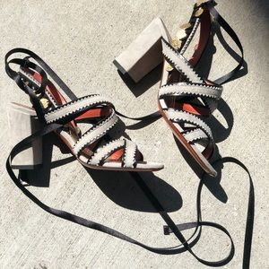 Santoni Lace up Suede Sandal with coin detail